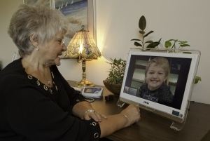 Esther using Skype with Laura's Son